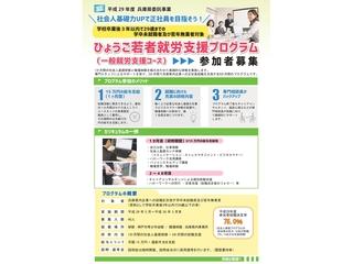 5月30日(火)より、兵庫県委託事業 「ひょうご若者就労支援プログラム」がスタートします。      (クリックするとPDFで拡大します)1ヶ月、セミナーと職場体験を組み合わせた研修を実施し、 その後専門スタッフのサポートを受けながら 3ヶ月間で兵庫県内の企業への正社員就職を目指す 全4ヶ月のプログラムです。 このプログラムは昨年度も実施をし、 当法人の平成28年度参加者の就職率はなんと75.0%! 高い就職率のワケは…