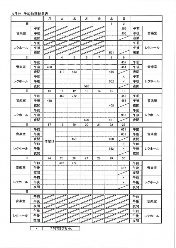 6月分予約抽選結果表②