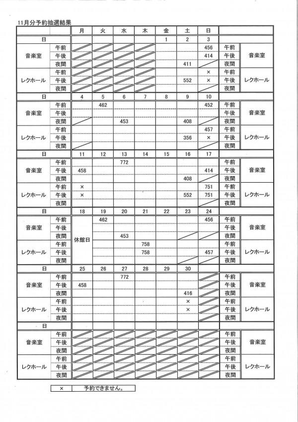 11月分予約抽選結果表
