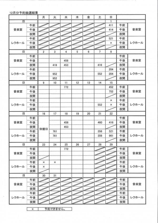 12月分予約抽選結果表