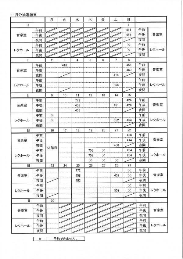 11月分抽選結果表