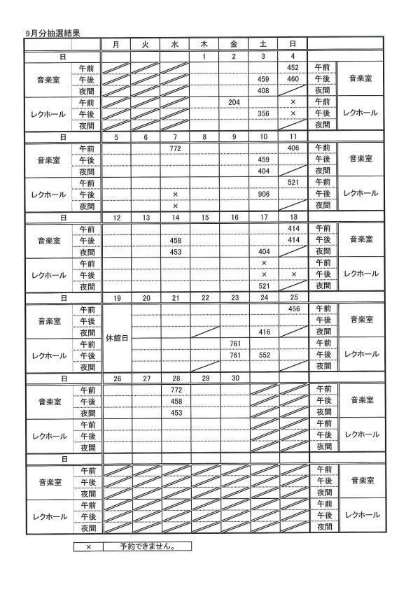 9月抽選結果表