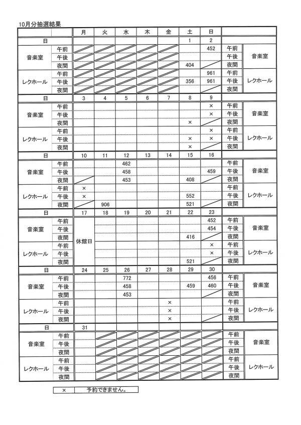 10月抽選結果表